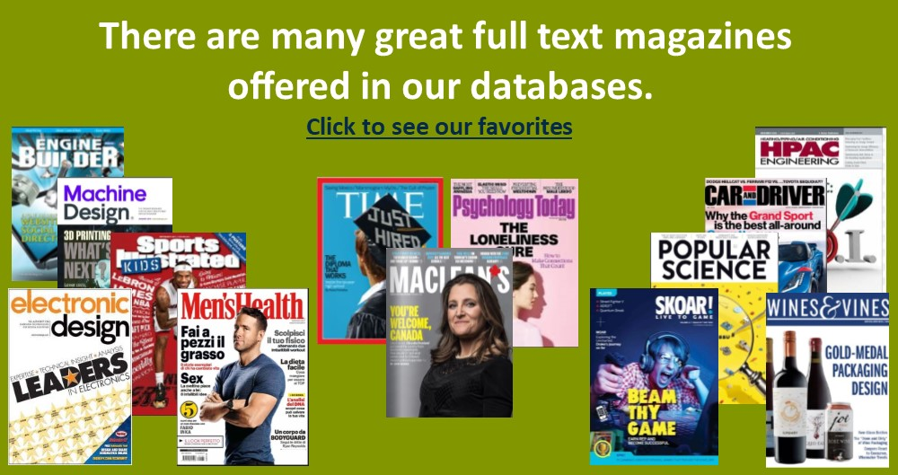 Some Full text Magazine offered in our databases