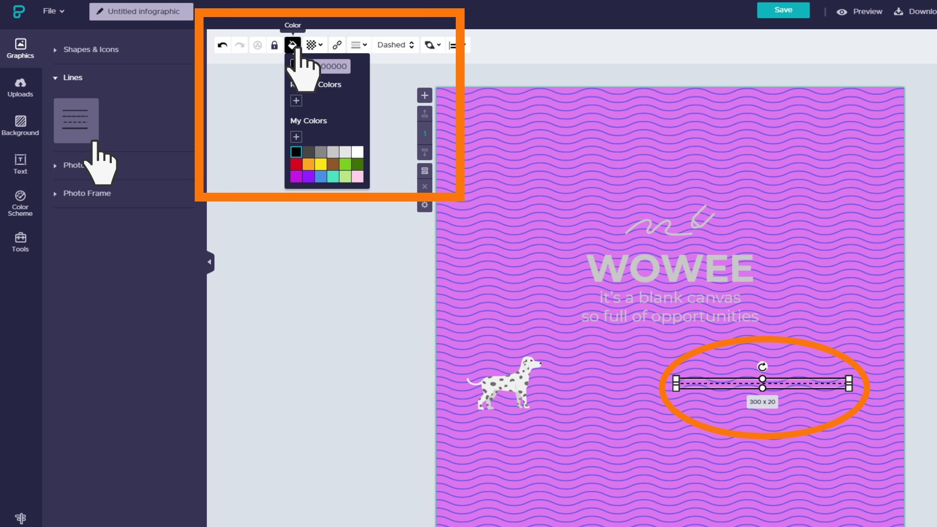 Screenshot: add a line to your project. Change the colour, opacity and line style using the top menu.