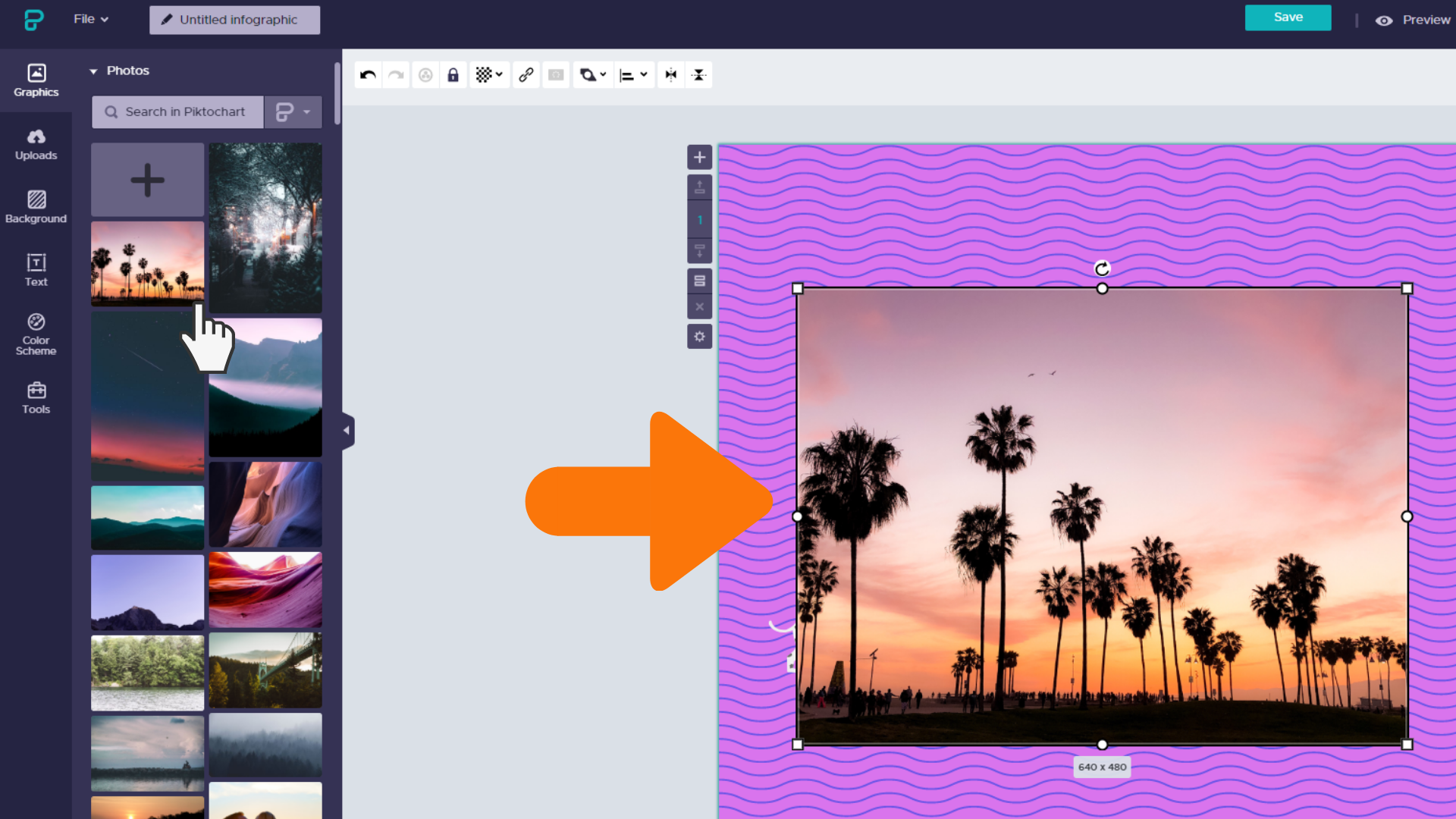 Screenshot: click image from Piktochart's photo library to add to your design