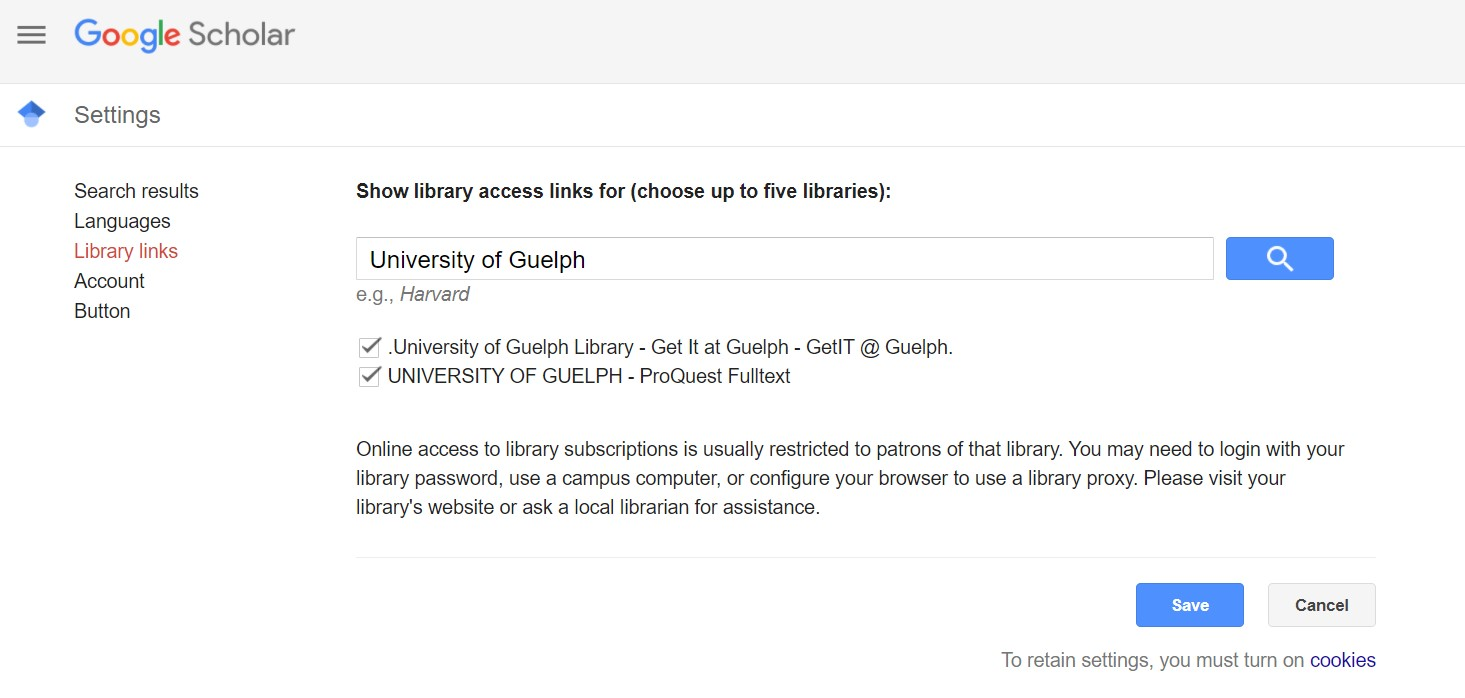"""Google Scholar library links settings page. Select """"University og Guelph Library - Get it at Guelph"""" and """"University of Guelph - Proquest"""""""