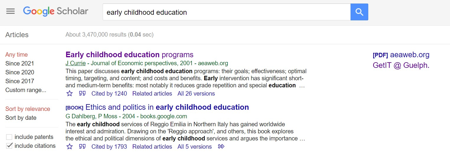 Google Scholar search results for early childhood education