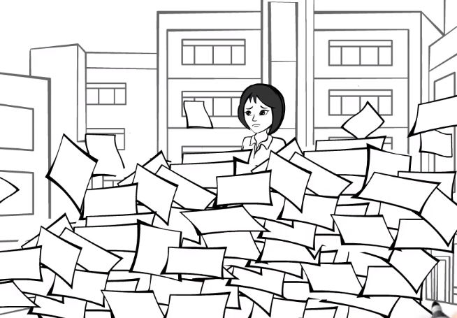 A frowning cartoon character buried under a pile of papers.