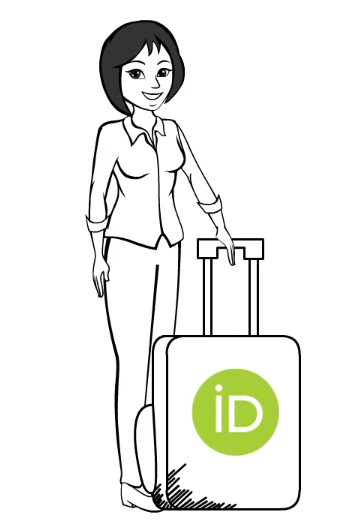 A cartoon person holding the handle of a Suitcase bearing the ORCID logo