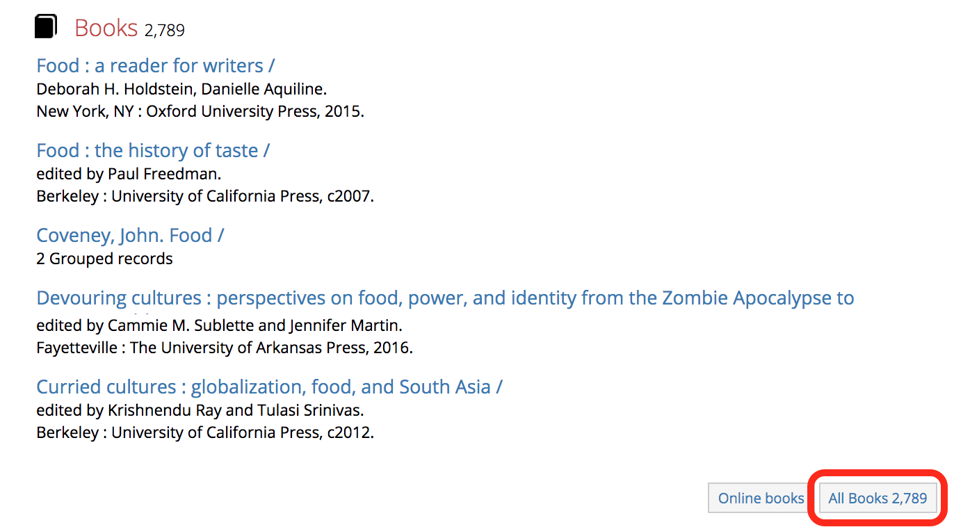 Screenshot of the book results for a search for food and culture. Highlights the location of the All Books button to see all book results.