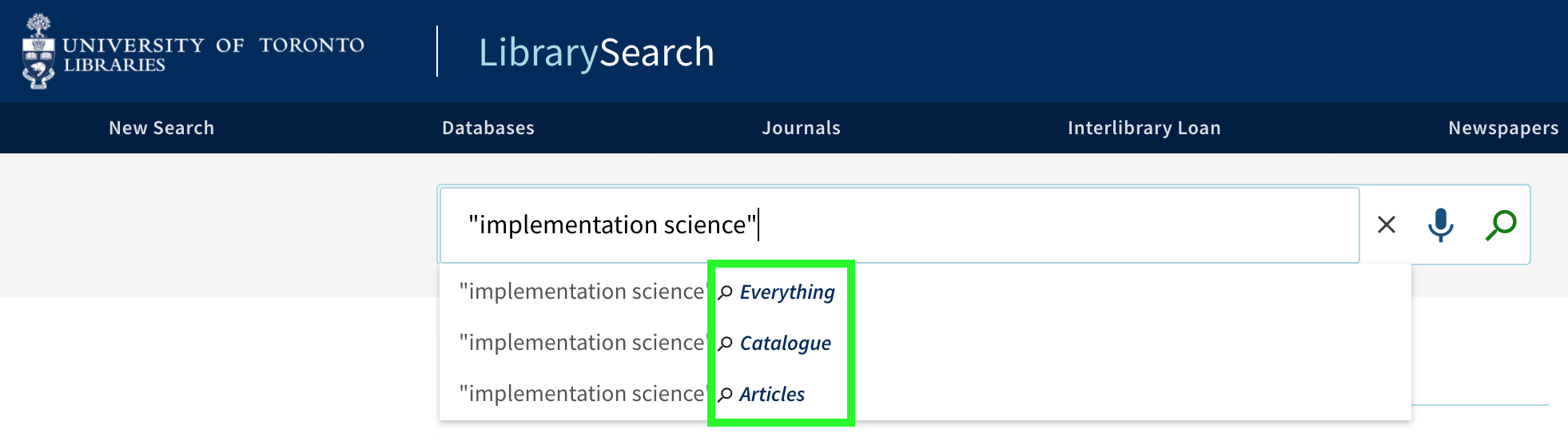 Screenshot of a basic search, with drop-down menu for type of search highlighted.