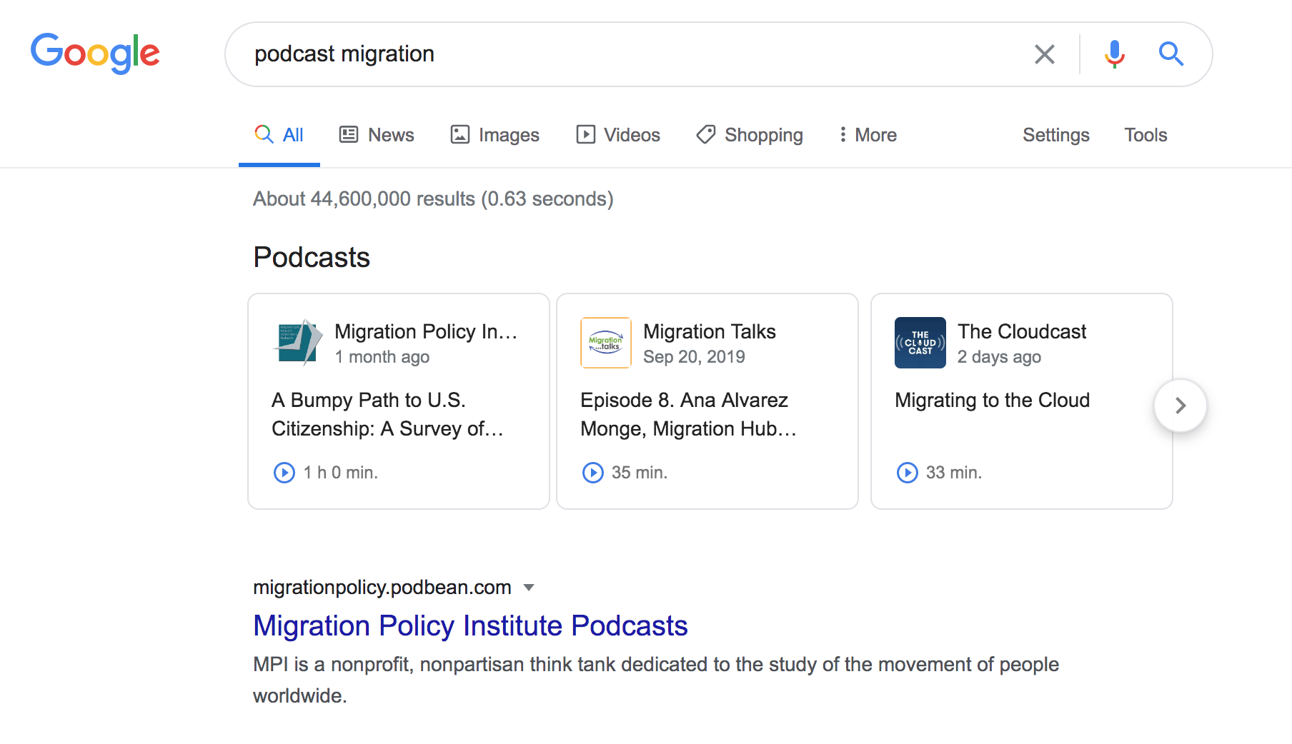 Screenshot of a Google search for podcasts on migration.