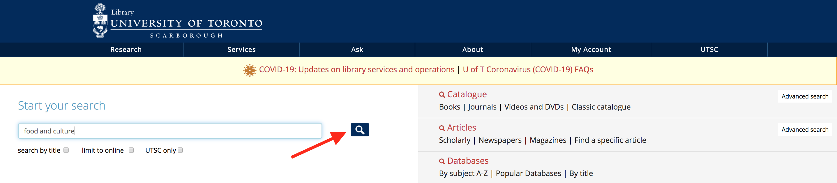 Screenshot of a search on the library homepage for food and culture.