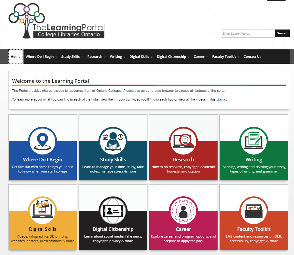 Screen shot of Learning Portal Website