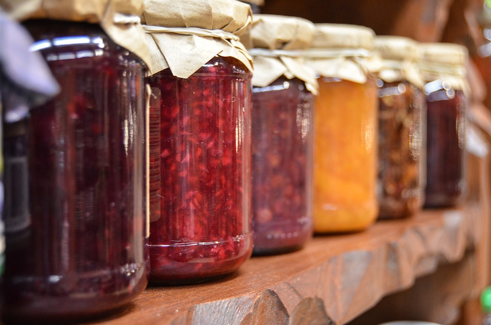 Image of jam jars on a shelf
