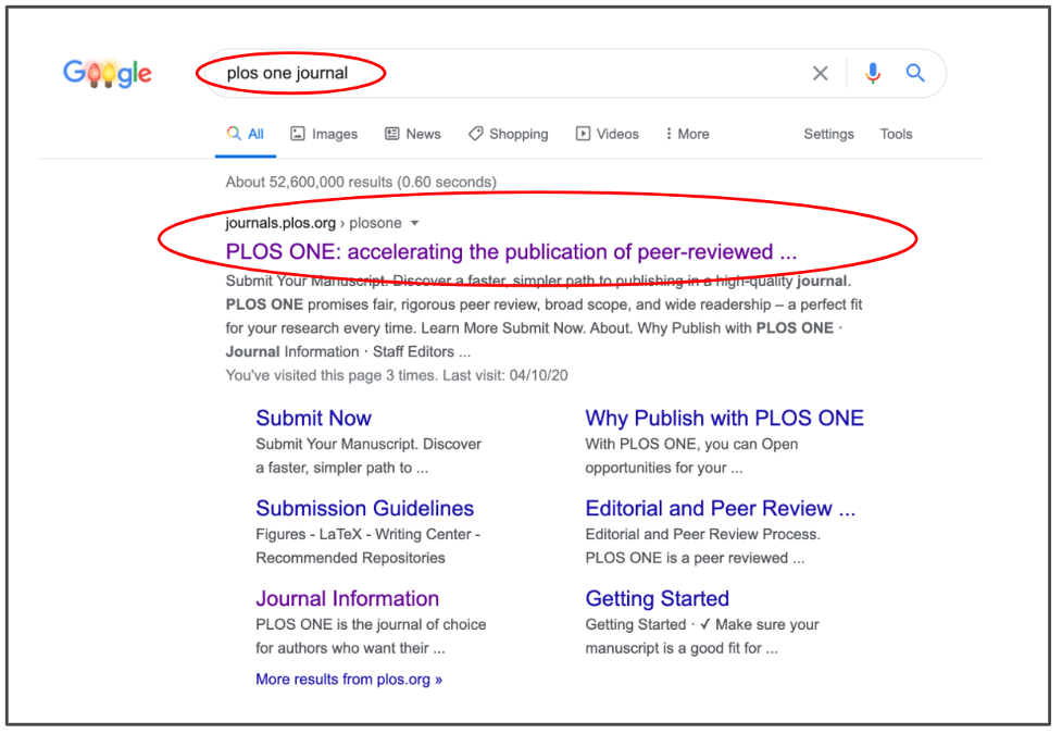 Google search for journal home page example