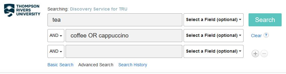 Screenshot of tea AND (coffee OR cappuccino) search string in Discover with multiple search bars