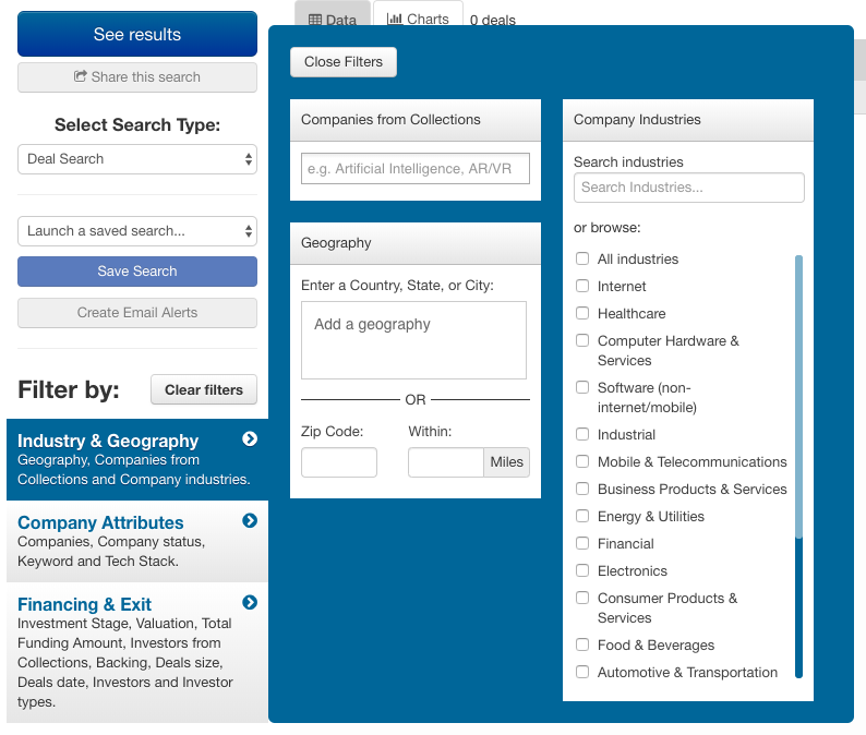 CB Insights advanced search filters for companies