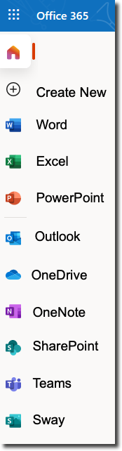 Office 365 menu