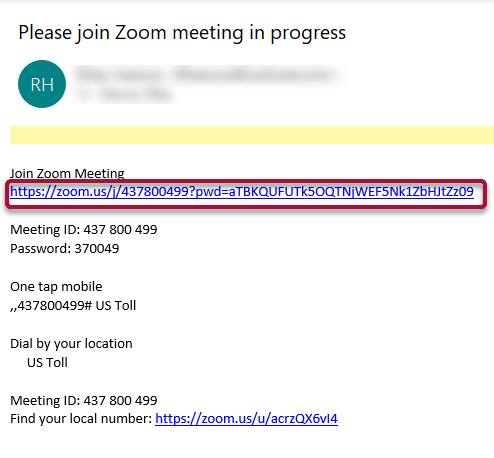 Zoom meeting invite example