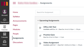 Canvas Assignments View