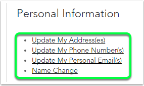 personal information options