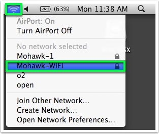 Click the network icon, then Mohawk-Wifi