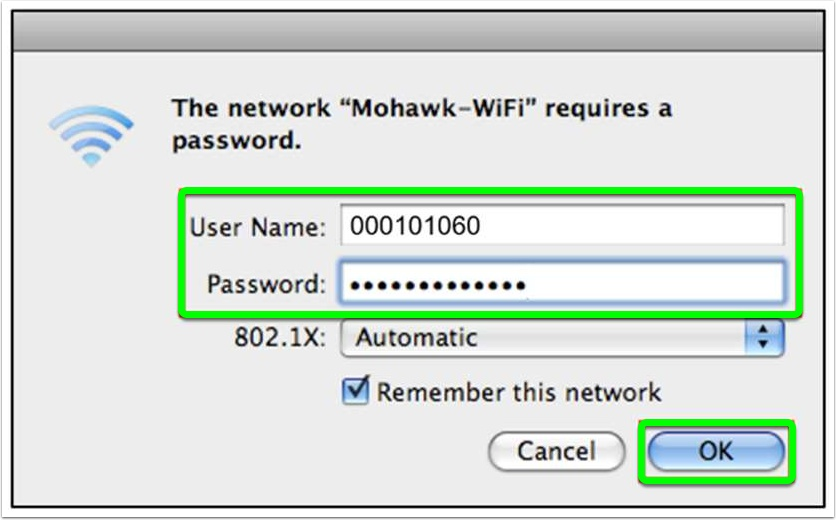 "Enter your MohawkID and password, then ""OK"""