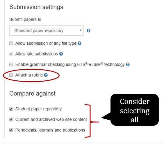 """In More Options, under """"Submission settings"""", make sure to check the """"Attach a rubric"""" checkbox. Under """"Compare against"""", consider checking off all three of the following options: """"Student paper repository"""", """"Current and archived web site content"""", and """"Periodicals, journals and publications""""."""