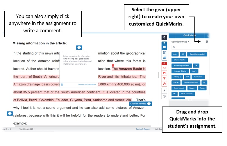 Screen showing Grade Mark in action, with the QuickMarks window open and comments showing. You can simply click anywhere in the assignment to write a comment. In the QuickMarks window, select the gear icon (upper right) to create your own customized QuickMarks. You can drag and drop QuickMarks into the student's assignment.