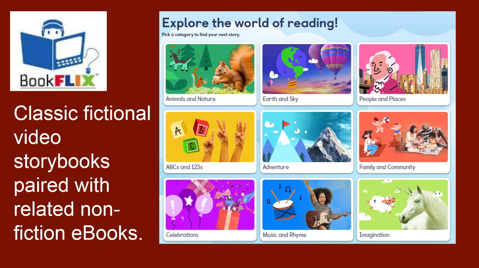 Classic fictional video storybooks paired with related non-fiction eBooks.