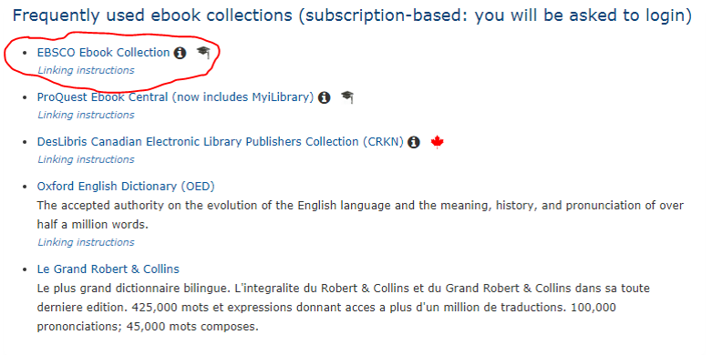 "Click on the "" EBSCO EBook Collections"" link"