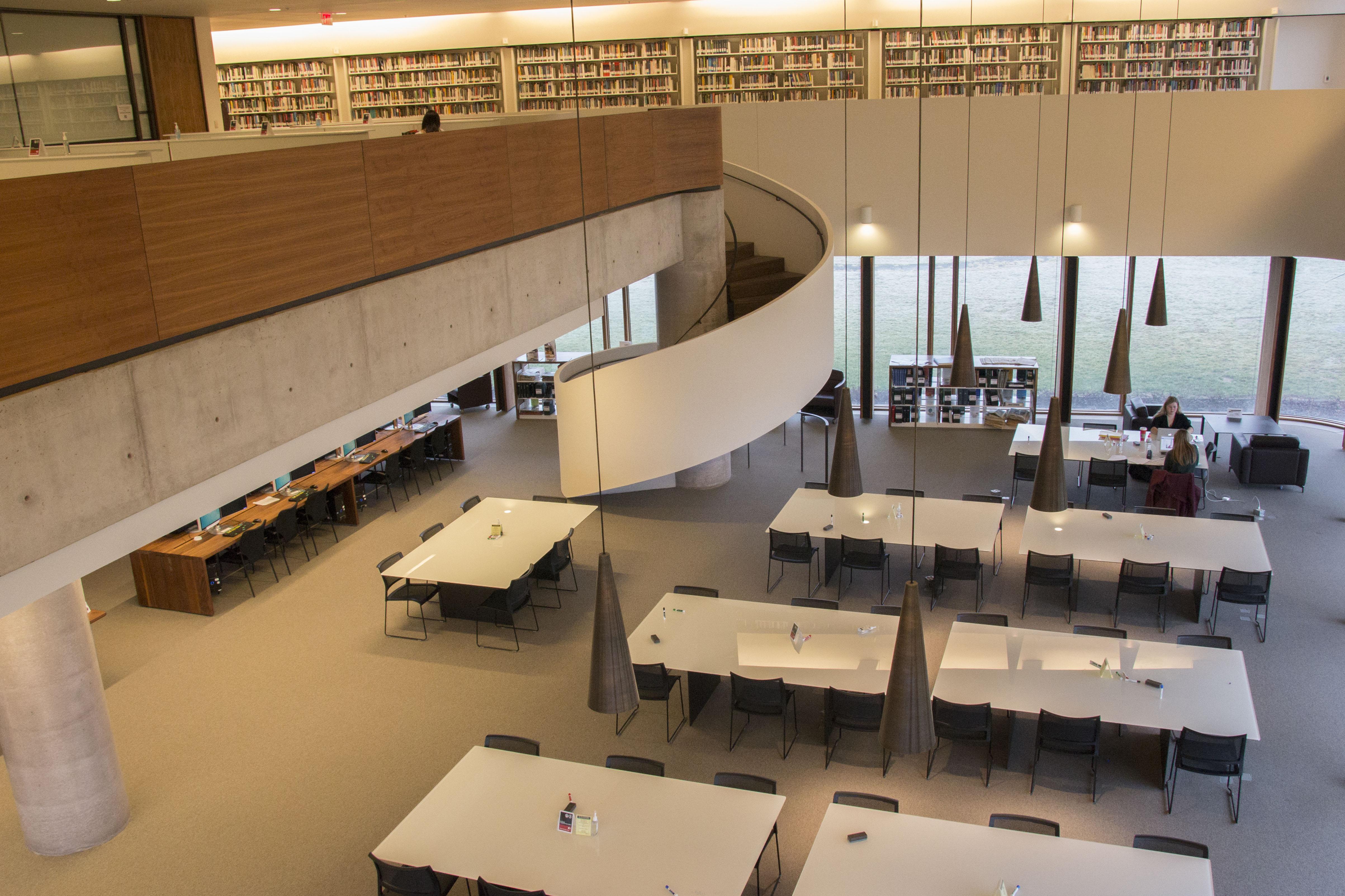 view of main floor from mezzanine