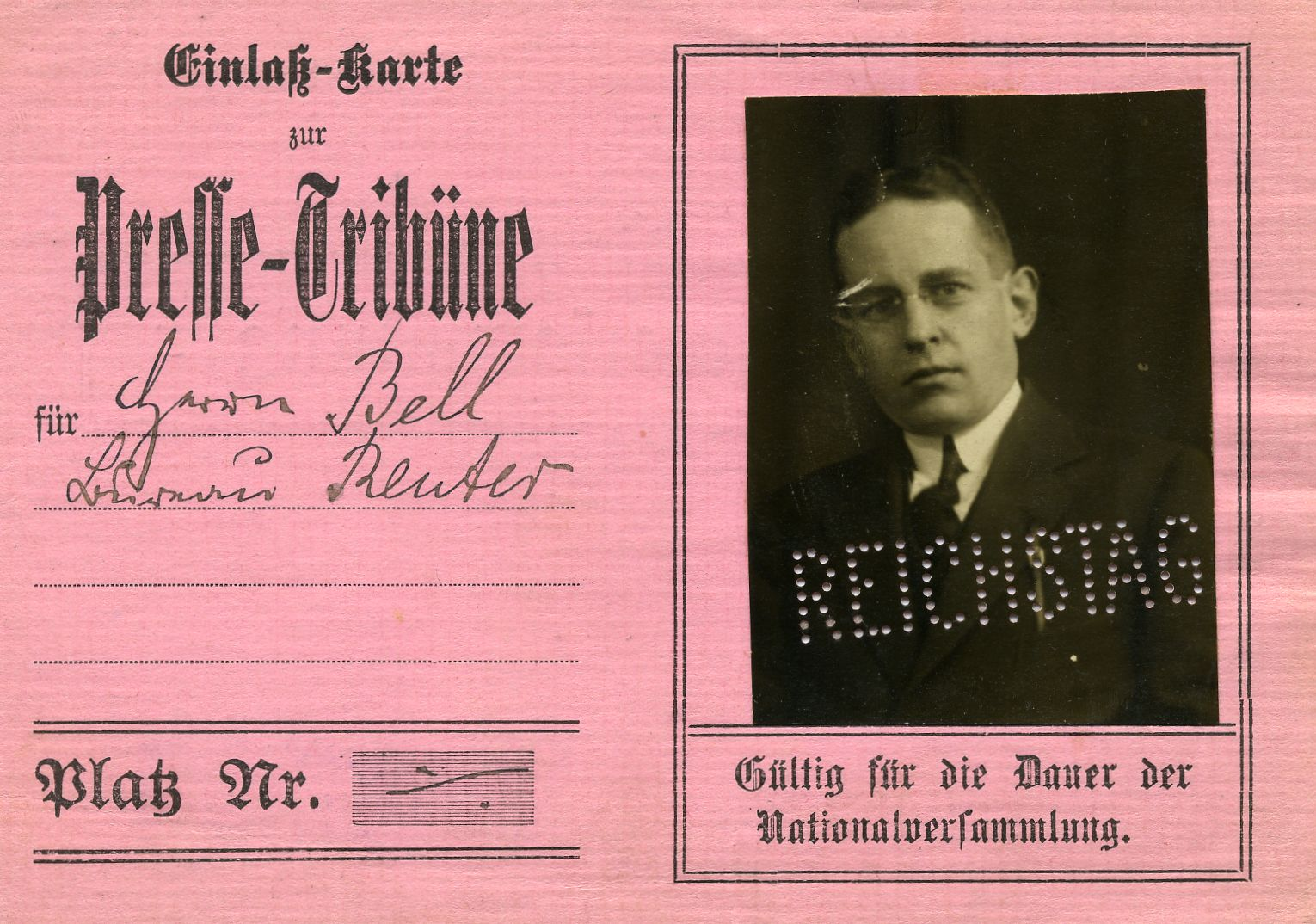 Pink press card with German text and a photograph of Winthrop Pickard Bell.