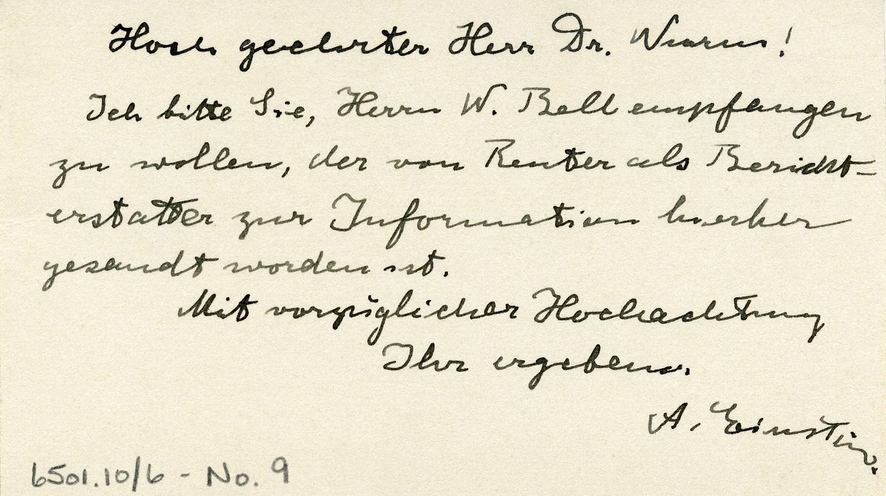 Handwritten card in German.