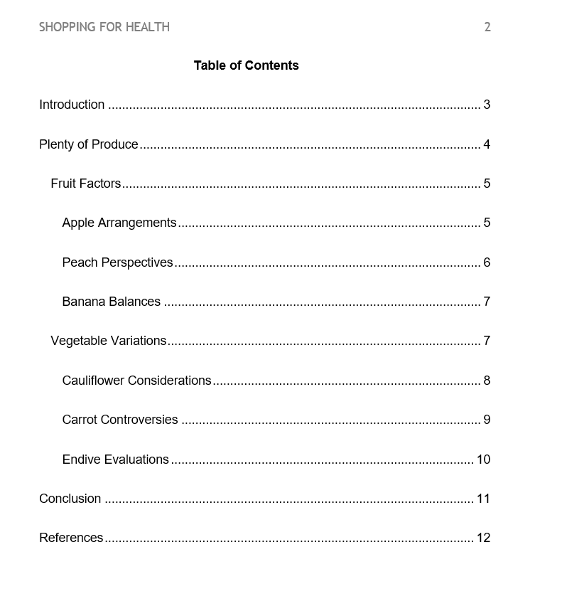 Table of Contents example image