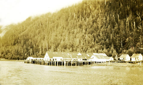 Black and white photo of a cannery town by the at the base of a forested hill