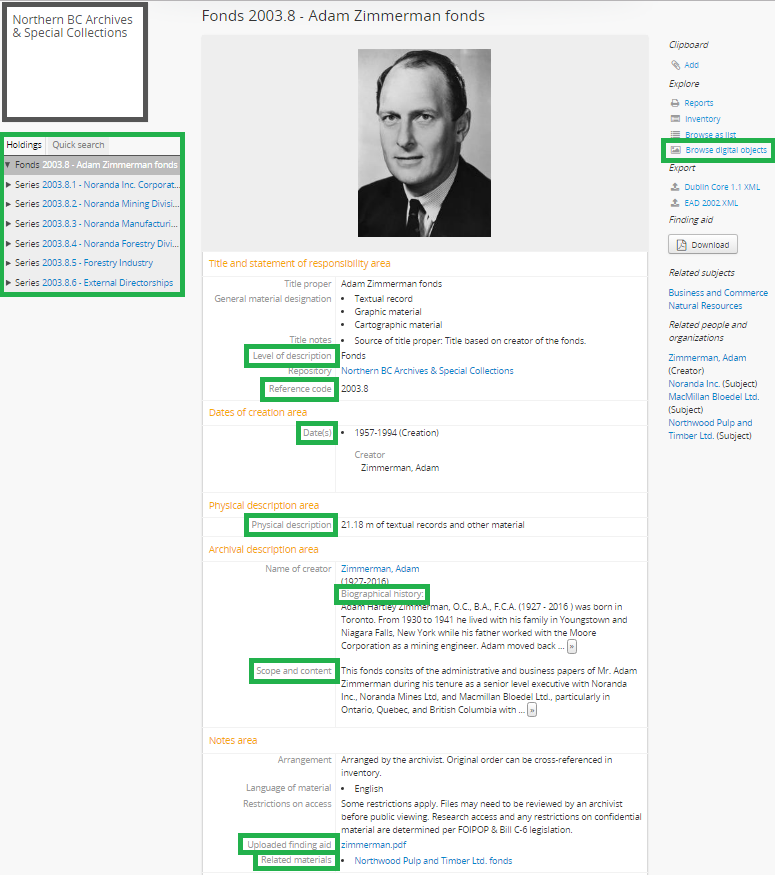 Screenshot of the Adam Zimmerman fonds online finding aid/web page
