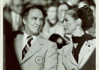 Black and white photo of Prime Minister Pierre Trudeau and MP Iona Campagnolo