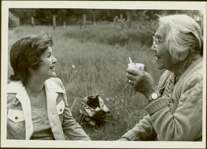 2009.6.1.58 - Iona Campagnolo talking to Agnes Sutton in a field at Usk, 1974
