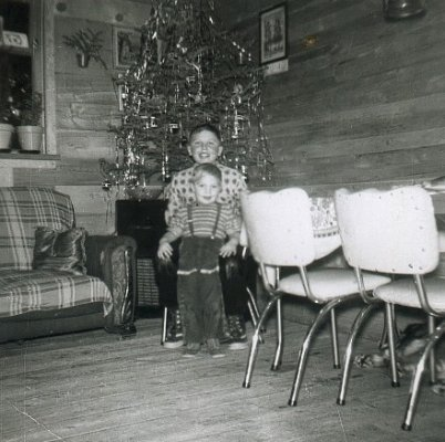 Boys in front of Candle-lit Christmas Tree, c.1960