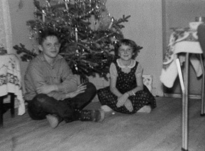 Children in front of Christmas Tree, c.1959