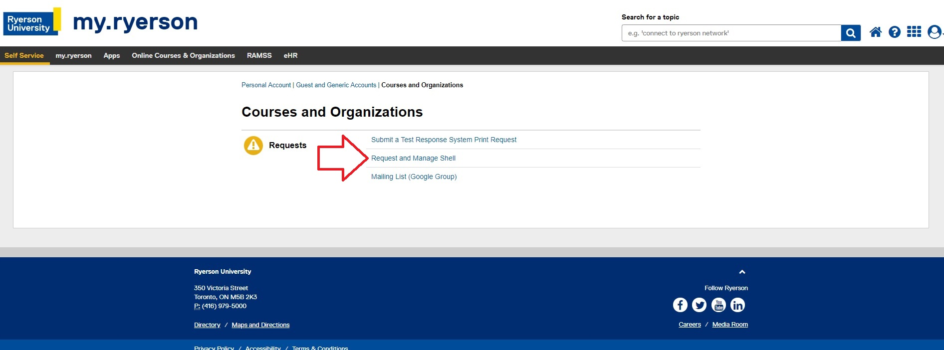 A close-up of the Request and Manage Shell link on my.ryerson.