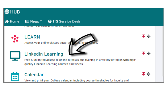 Screenshot of where to click, within HUB, to open up LinkedIn Learning.