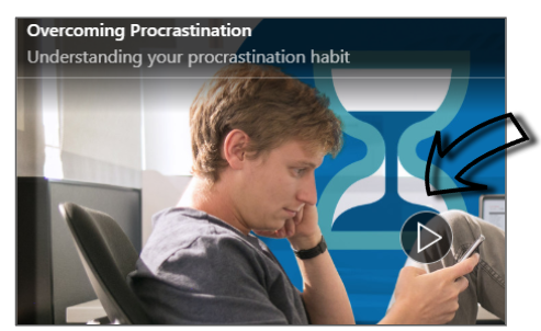 Screenshot of where to press play to watch a LinkedIn Learning video.