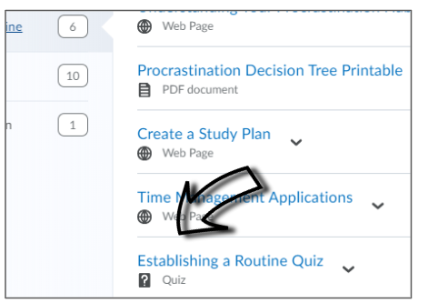 Screenshot of where to click to open a LEARN quiz.
