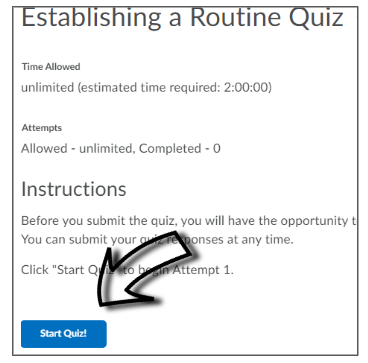 Screenshot of where to click to start a LEARN quiz.
