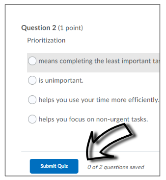 Screenshot of where to click in order to submit and finish a LEARN quiz.