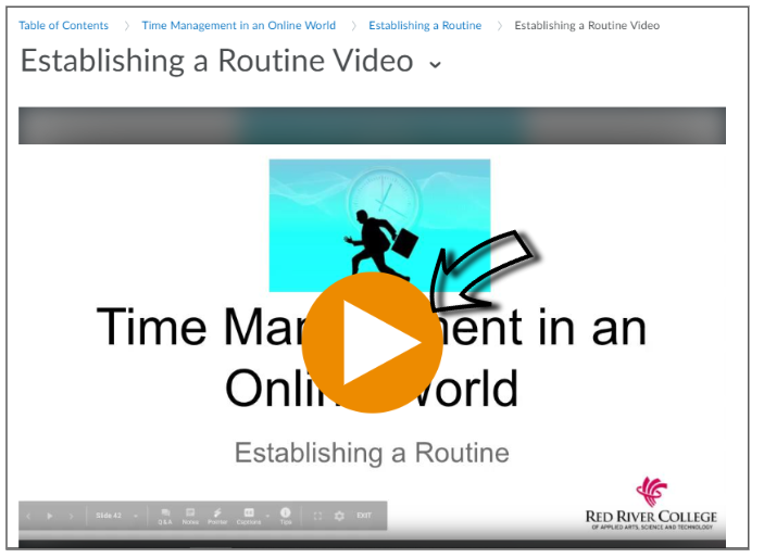Screenshot of how to play an embedded video within a LEARN page.