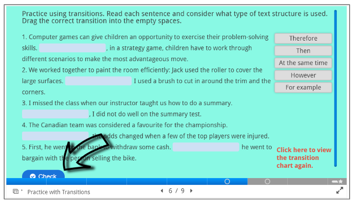 Screenshot of how to check your answers within an H5P page.