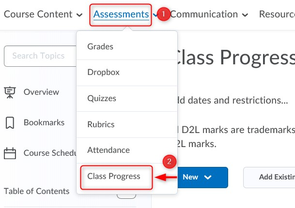 Screenshot of a LEARN course page with the Assesstment tab on the navigation bar on the top, and the Class Progress option in the drop down menu,.