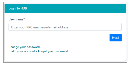Screenshot of login page for HUB where you enter your user name.