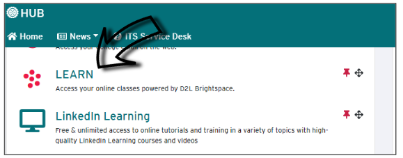 Screenshot of where to click to access LEARN from the HUB.