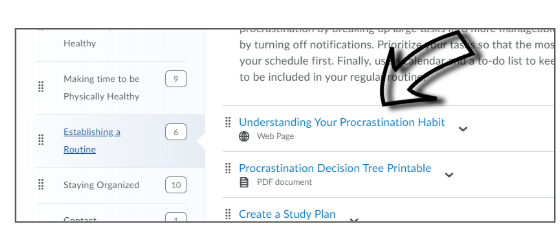 Screenshot of where to click to open up each page in the LEARN module.
