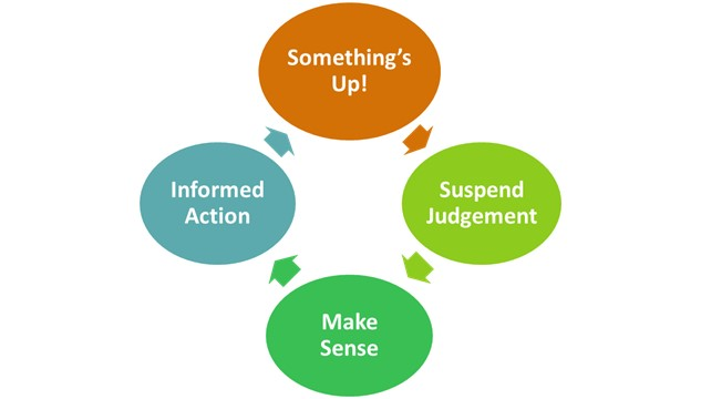 Graph with four stages in the self-awareness process: Something's Up!, Suspend Judgement, Make Sense, and Informed Action