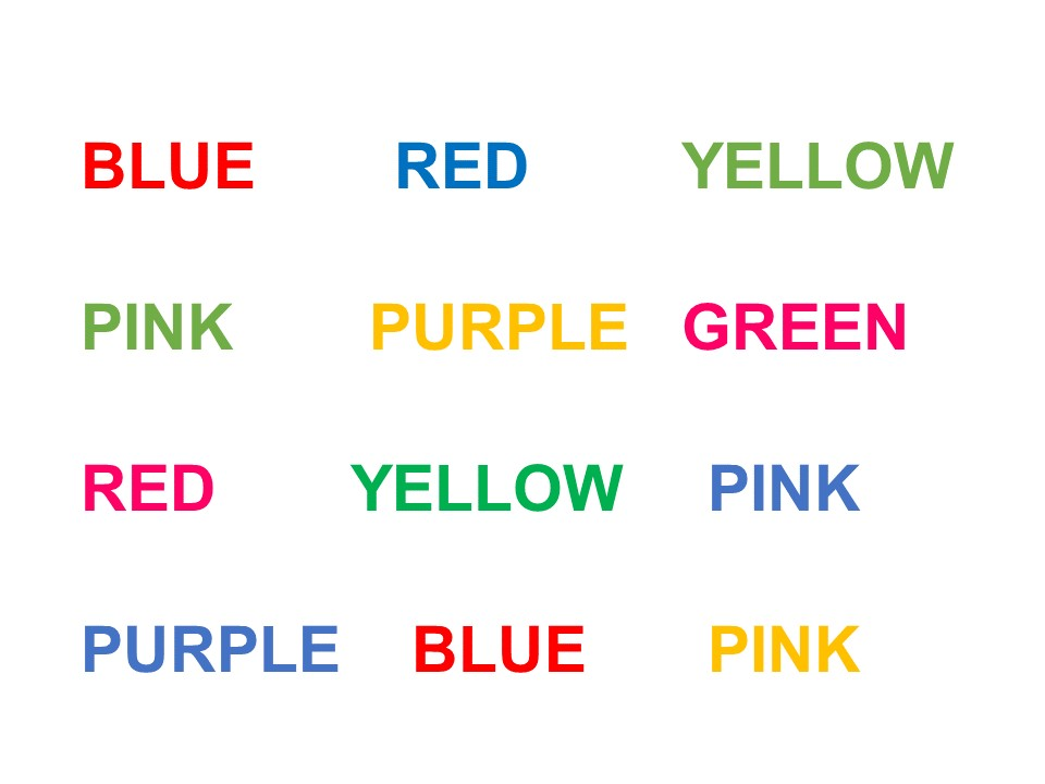 Image with names of colours but with the font in other colours